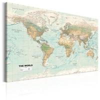 Schilderij - Wereldkaart , Prachtige Wereld