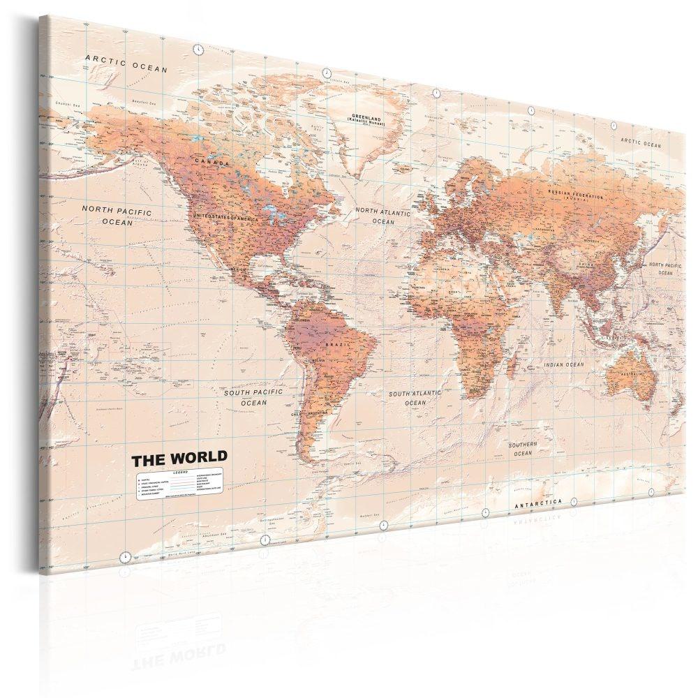 Schilderij - Wereldkaart , Oranje Wereld