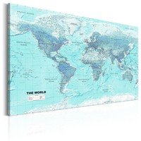 Schilderij - Wereldkaart , lichtblauwe Wereld