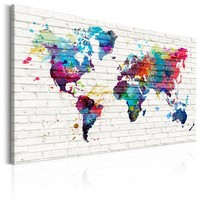 Schilderij - Wereldkaart , Muren van de Wereld