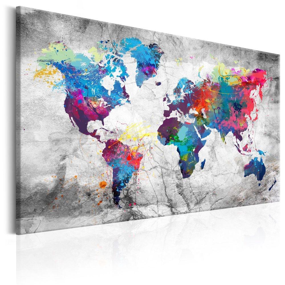 Schilderij - Wereldkaart , Grijze Zee�n II