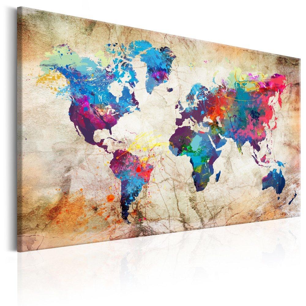 Schilderij - Wereldkaart , Stedelijke Stijl II