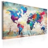 Schilderij - Wereldkaart , Kleurrijke Gekte II
