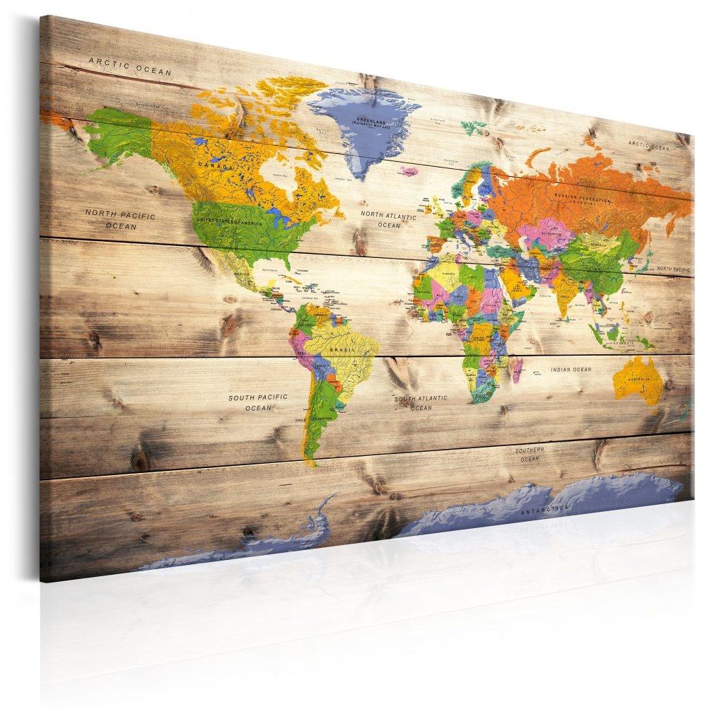 Schilderij - Wereldkaart , Wereld op Hout , Houtlook