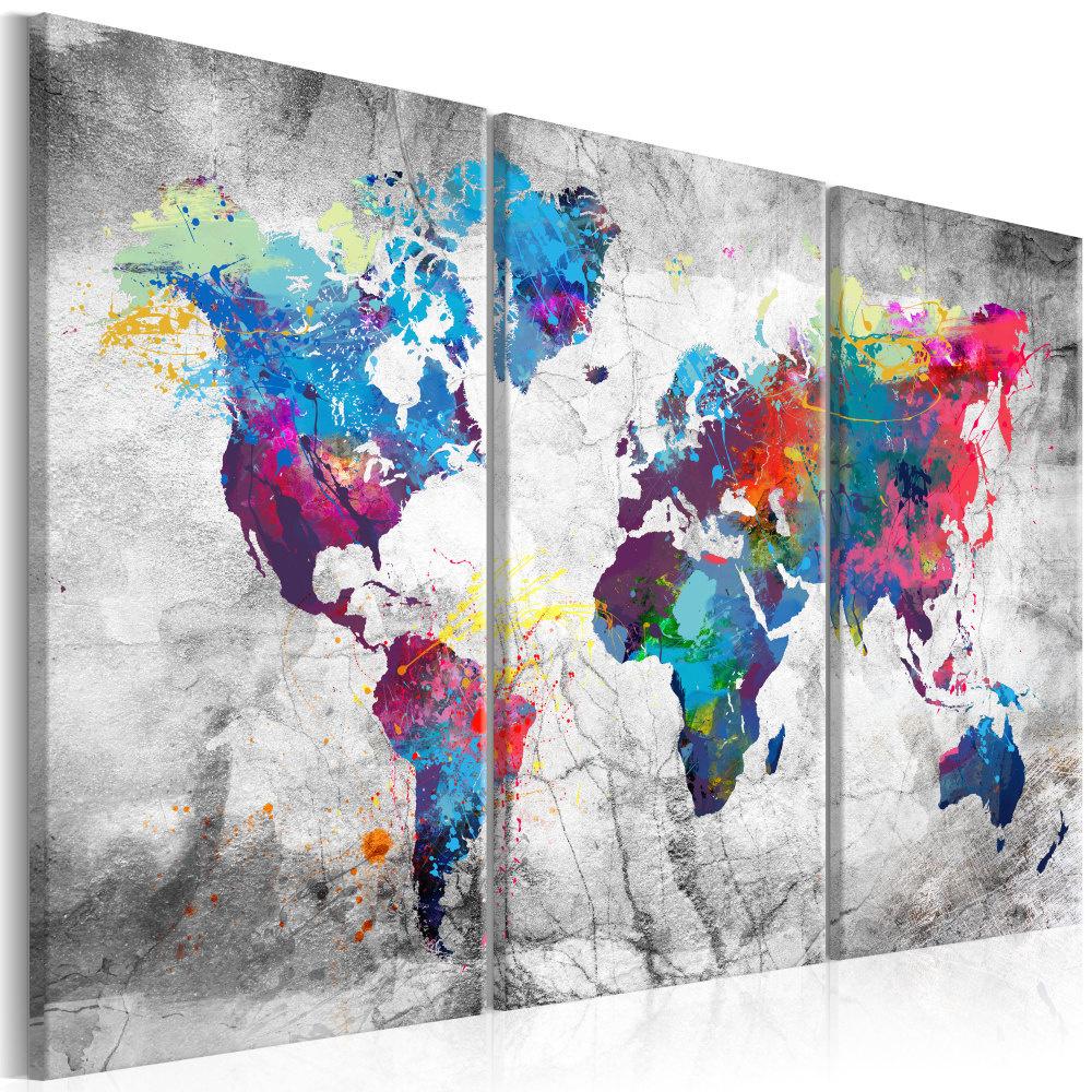 Schilderij - Wereldkaart , Grijze zeeen , 3 luik