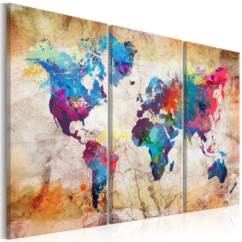 Schilderij - Wereldkaart , Stedelijke Stijl , 3 luik