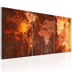 Schilderij - Wereldkaart , Roestige Wereld II , 3 luik