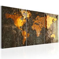 Schilderij - Wereldkaart , Wereld van Metaal , metaallook , 3 luik