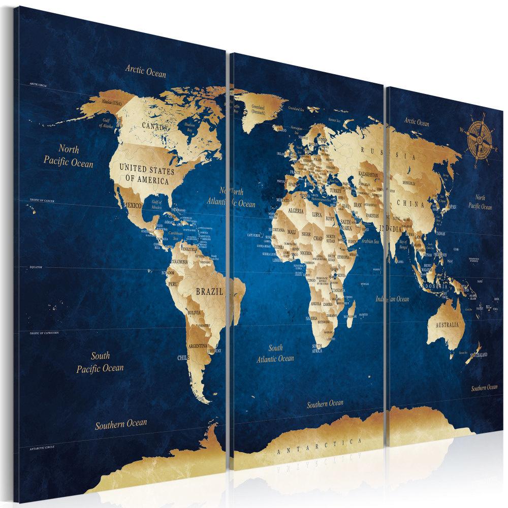 Schilderij -Wereldkaart , Donkerblauwe Dieptes , 3 luik