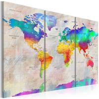Schilderij - Wereldkaart , Warmtemeter , 3 luik