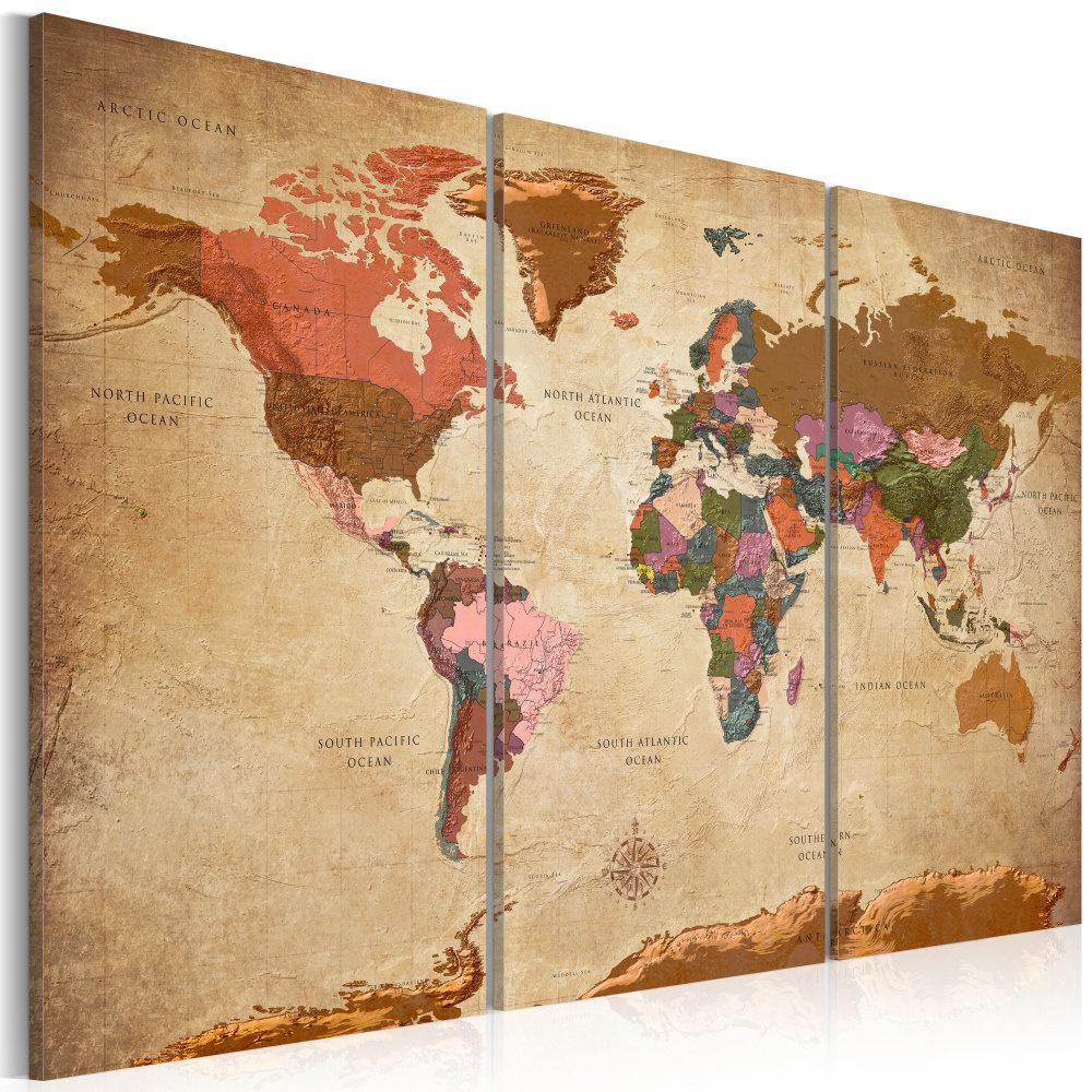 Schilderij - Wereldkaart , Bruine Elegantie II , 3 luik