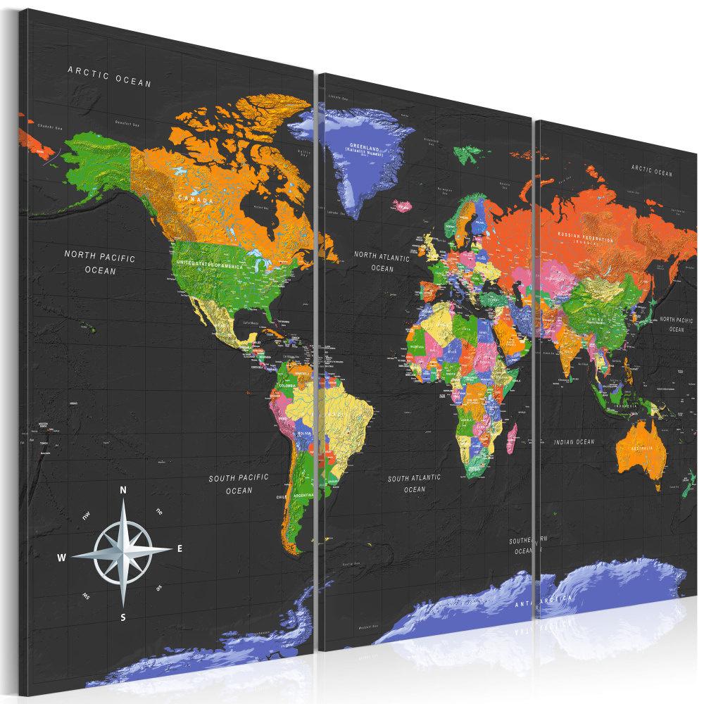 Schilderij - Wereldkaart , Donkere Dieptes , 3 luik