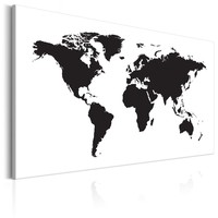 Schilderij - Wereldkaart , Zwart & Wit Elegantie