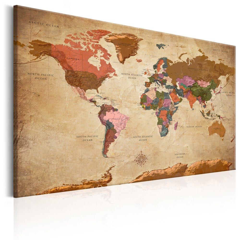 Schilderij - Wereldkaart , Bruine Elegantie