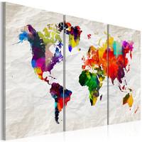 Schilderij - Wereldkaart , Kleurrijke Gekte II , 3 luik