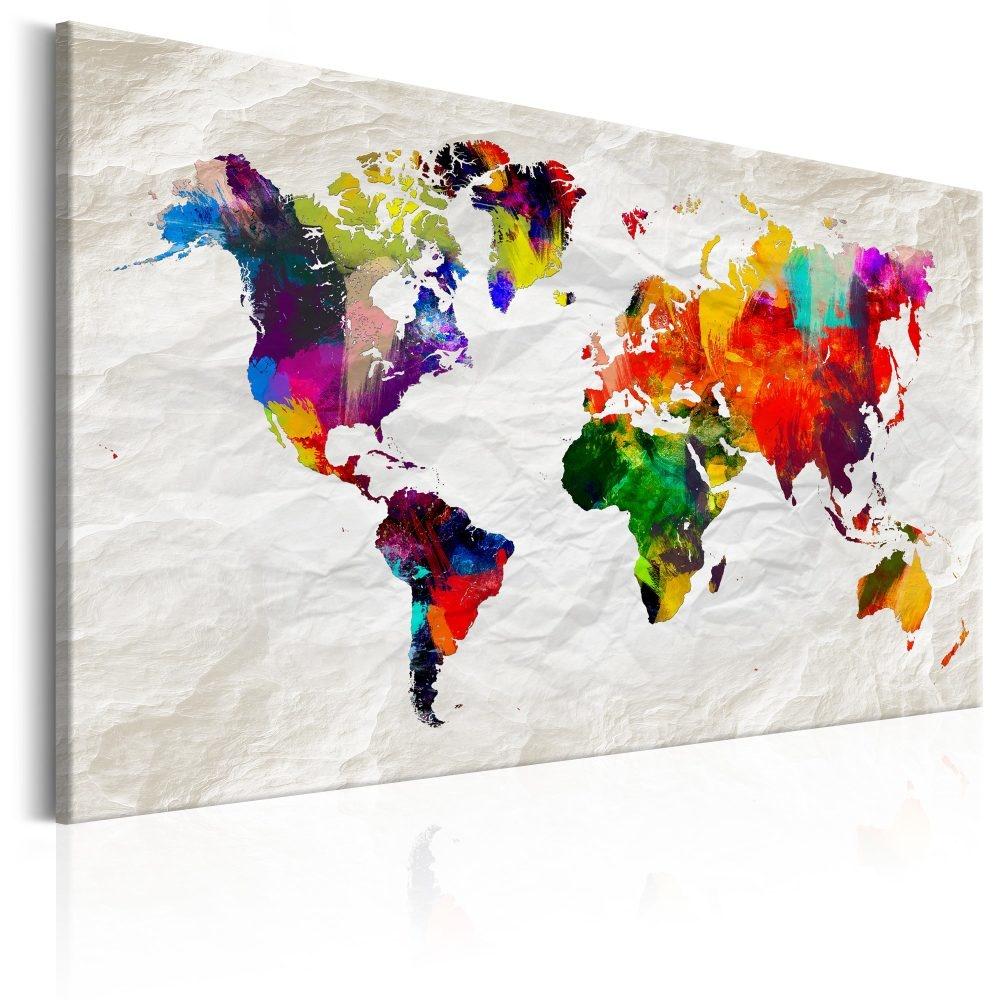 Schilderij - Wereldkaart , Kleurrijke Gekte
