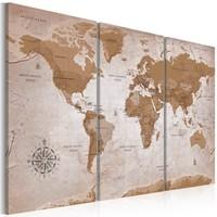 Schilderij - Wereldkaart , Vintage , Oosterse Reizen , 3 luik