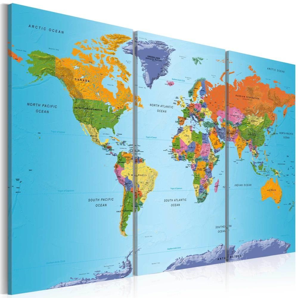 Schilderij - Wereldkaart , Kleurrijke Notitie , 3 luik