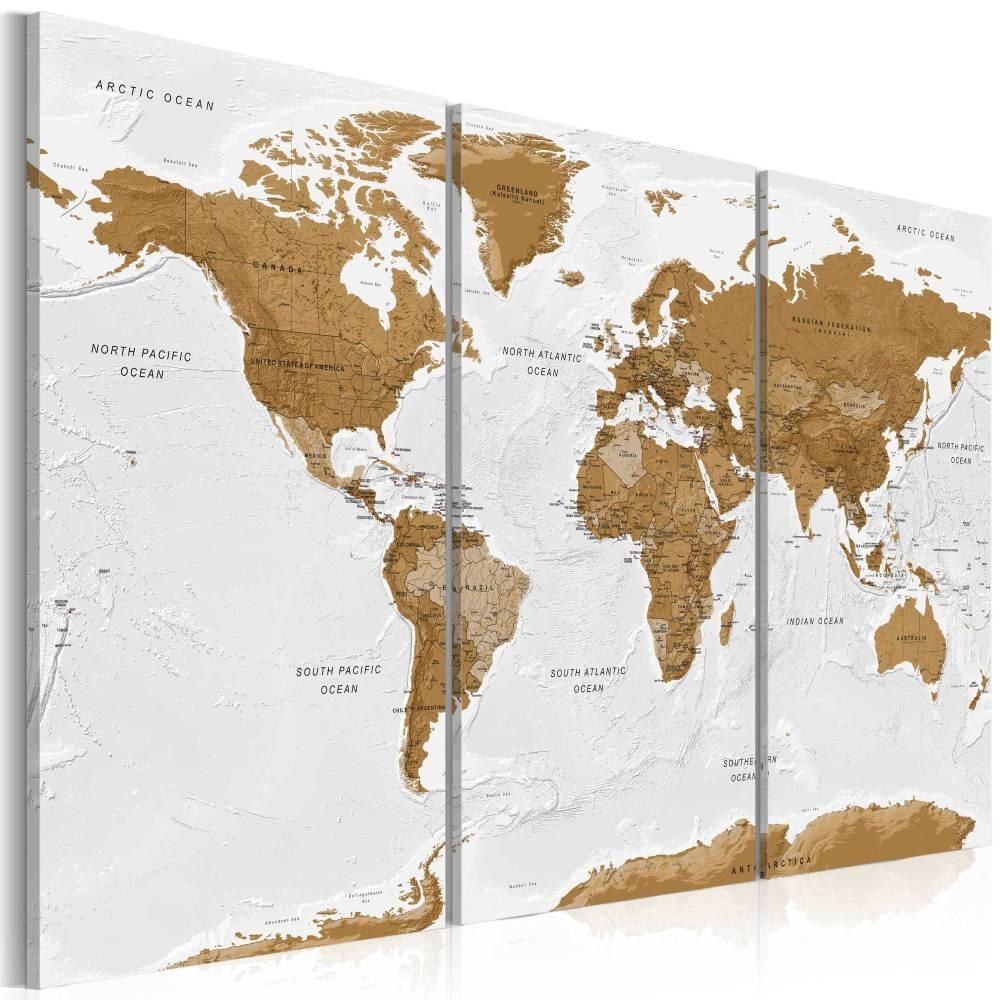 Schilderij - Wereldkaart , Witte Po�zie , 3 luik
