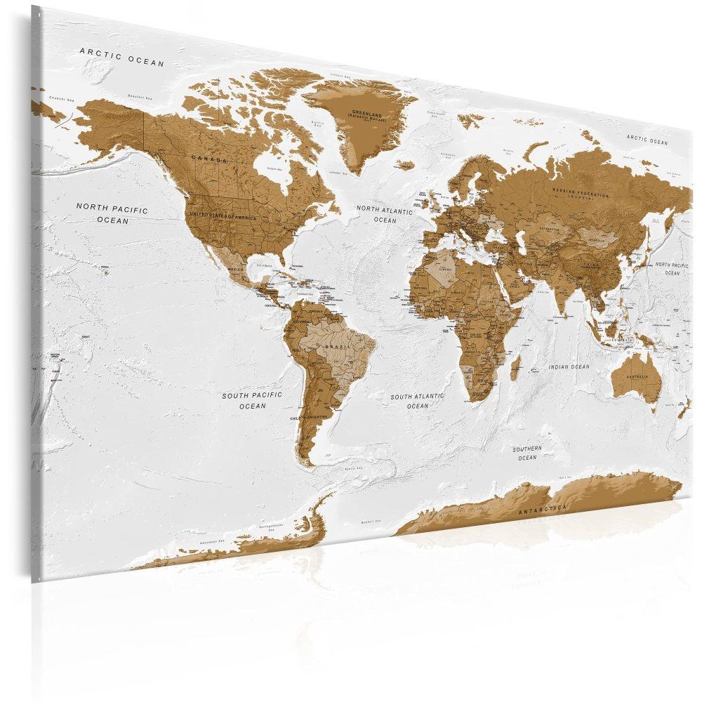 Schilderij - Wereldkaart , Witte Po�zie