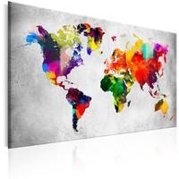 Schilderij - Wereldkaart , Gekleurde Revolutie