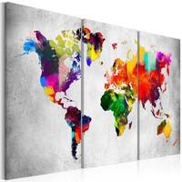 Schilderij - Wereldkaart , Artistieke Wereld , 3 luik