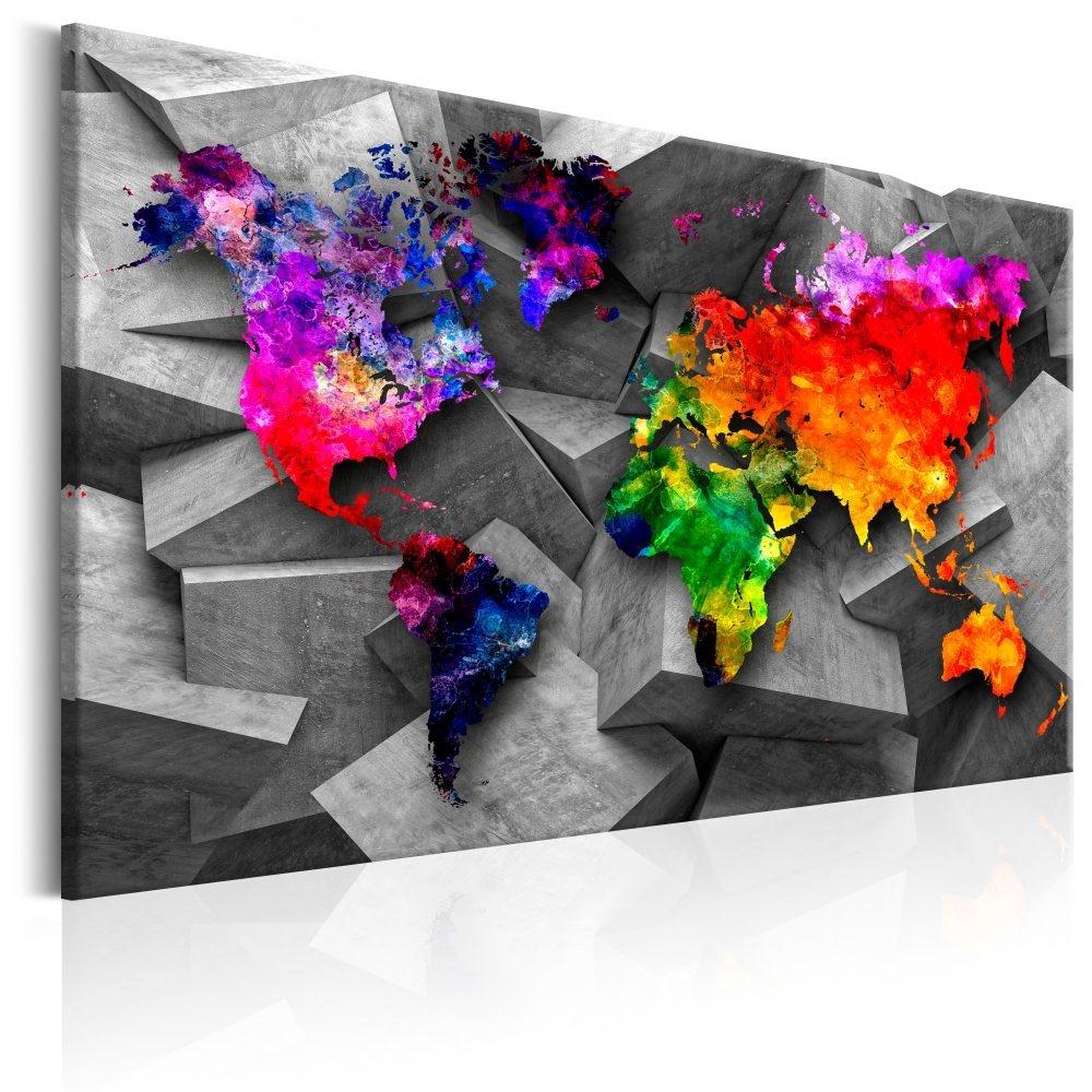 Schilderij - Wereldkaart , Symmetrie van de Wereld II