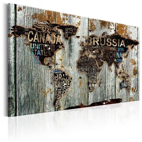 Schilderij - Wereldkaart , Grenzen van Hout , houtlook
