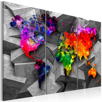 Schilderij - Wereldkaart , Symmetrie van de Wereld , 3 luik