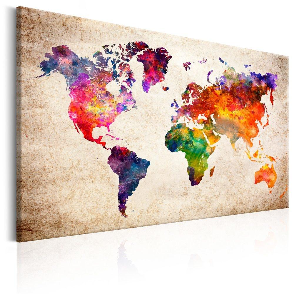 Schilderij - Wereldkaart , Gekleurd Universum