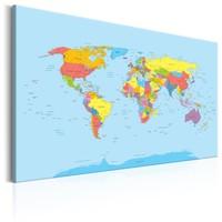 Schilderij - Wereldkaart , Regenboog Aarde