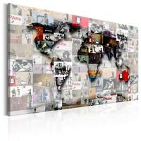 Schilderij - Wereldkaart , Moderne Wereld IV