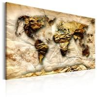 Schilderij - Wereldkaart , Geïnspireerd door Leonardo da Vinci