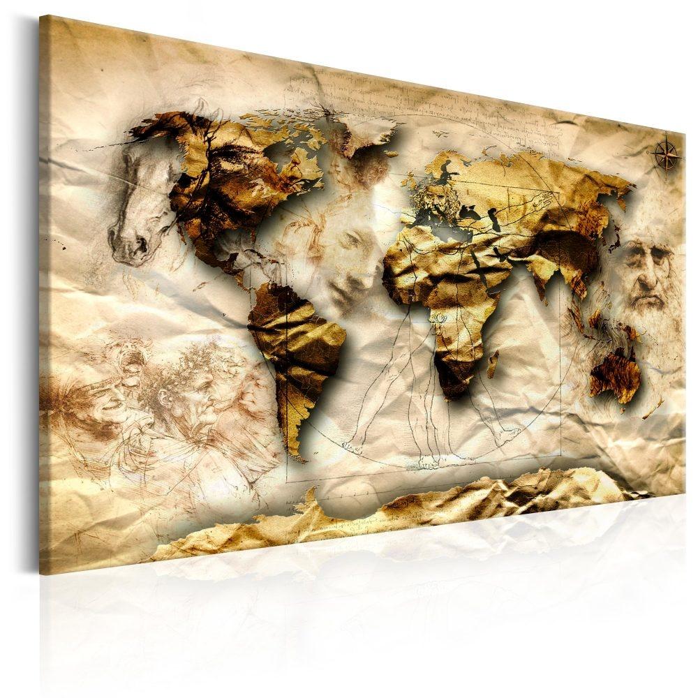 Schilderij - Wereldkaart , Ge�nspireerd door Leonardo da Vinci