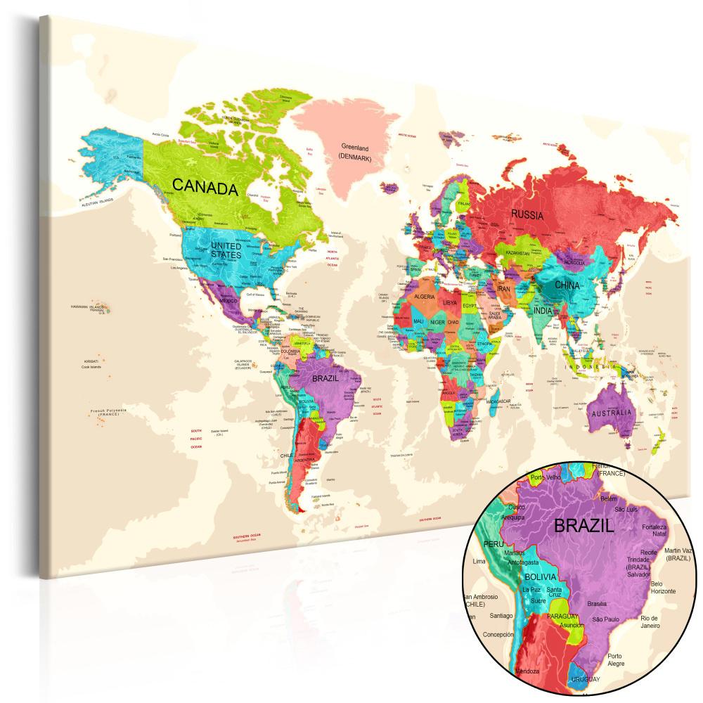 Schilderij - Wereldkaart , Landen in Kleur