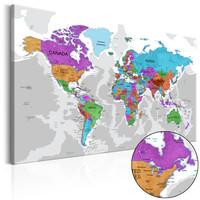 Schilderij - Wereldkaart , Territorium van Kleuren