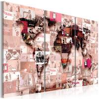 Schilderij - Wereldkaart , Moderne Wereld III , 3 luik