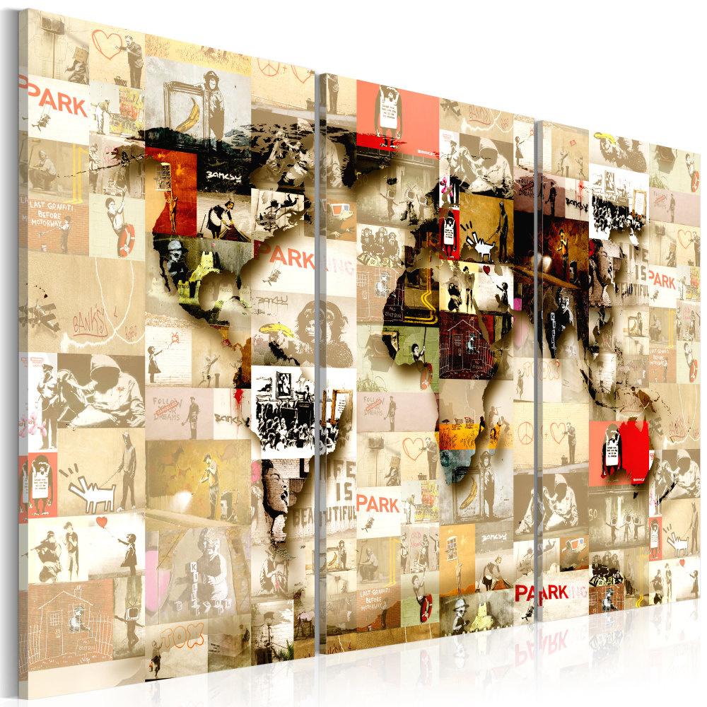 Schilderij - Wereldkaart , Moderne Wereld II , 3 luik