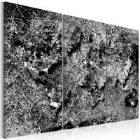 Schilderij -  Wereldkaart , Grijze Werveling , 3 luik