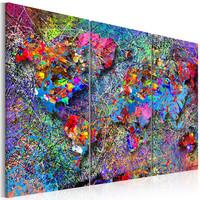 Schilderij - Wereldkaart , Kleurrijke Werveling , 3 luik