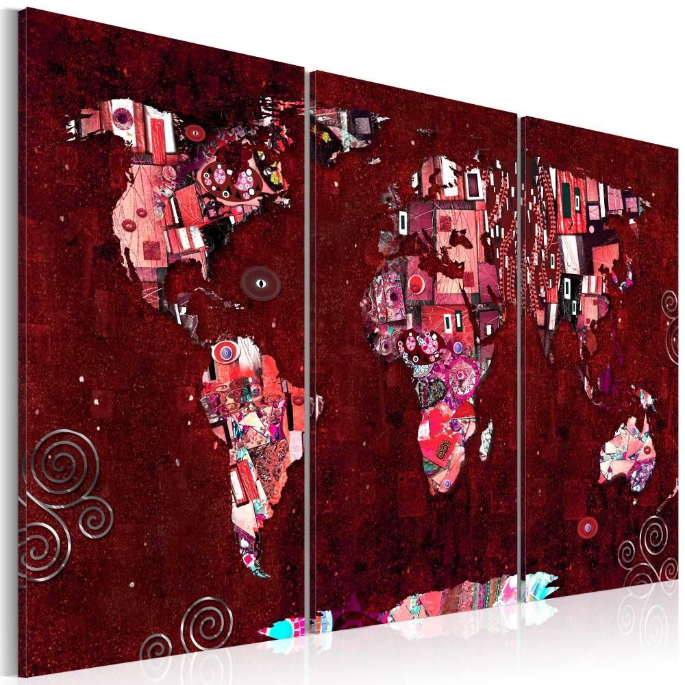 Schilderij - Wereldkaart , Robijnkleurige Wereld , 3 luik