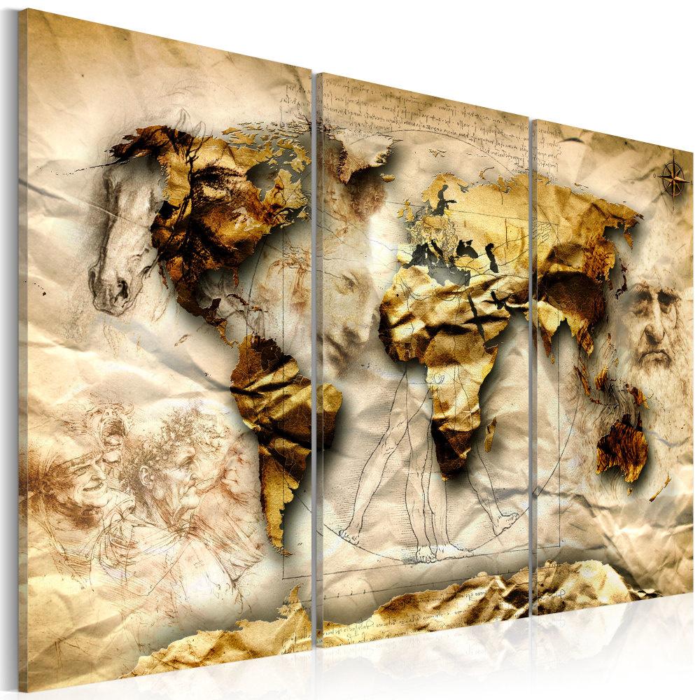 Schilderij - Wereldkaart , Anatomie van de Wereld , 3 luik