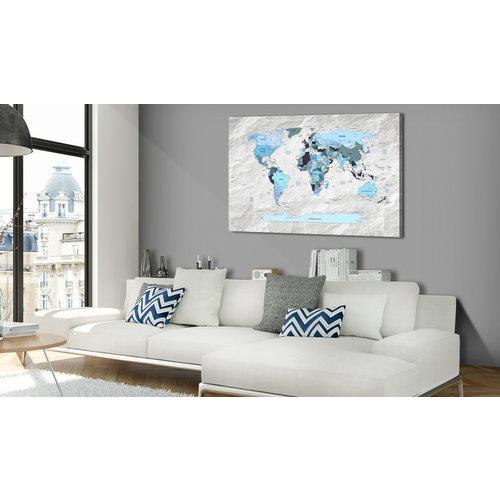 Schilderij - Wereldkaart , Blauwe Continenten