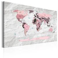 Schilderij - Wereldkaart , Roze Continenten