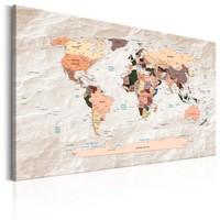 Schilderij - Wereldkaart , Wereld van Steen, Steenlook