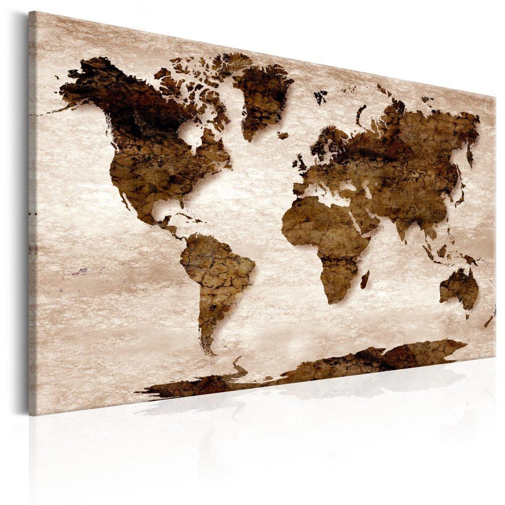 Schilderij - Wereldkaart , Bruine wereld