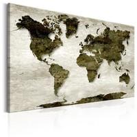 Schilderij - Wereldkaart , Groene Planeet