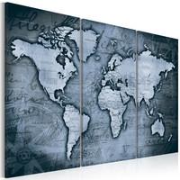 Schilderij - Wereldkaart , Blauwe Wereldreis , 3 luik