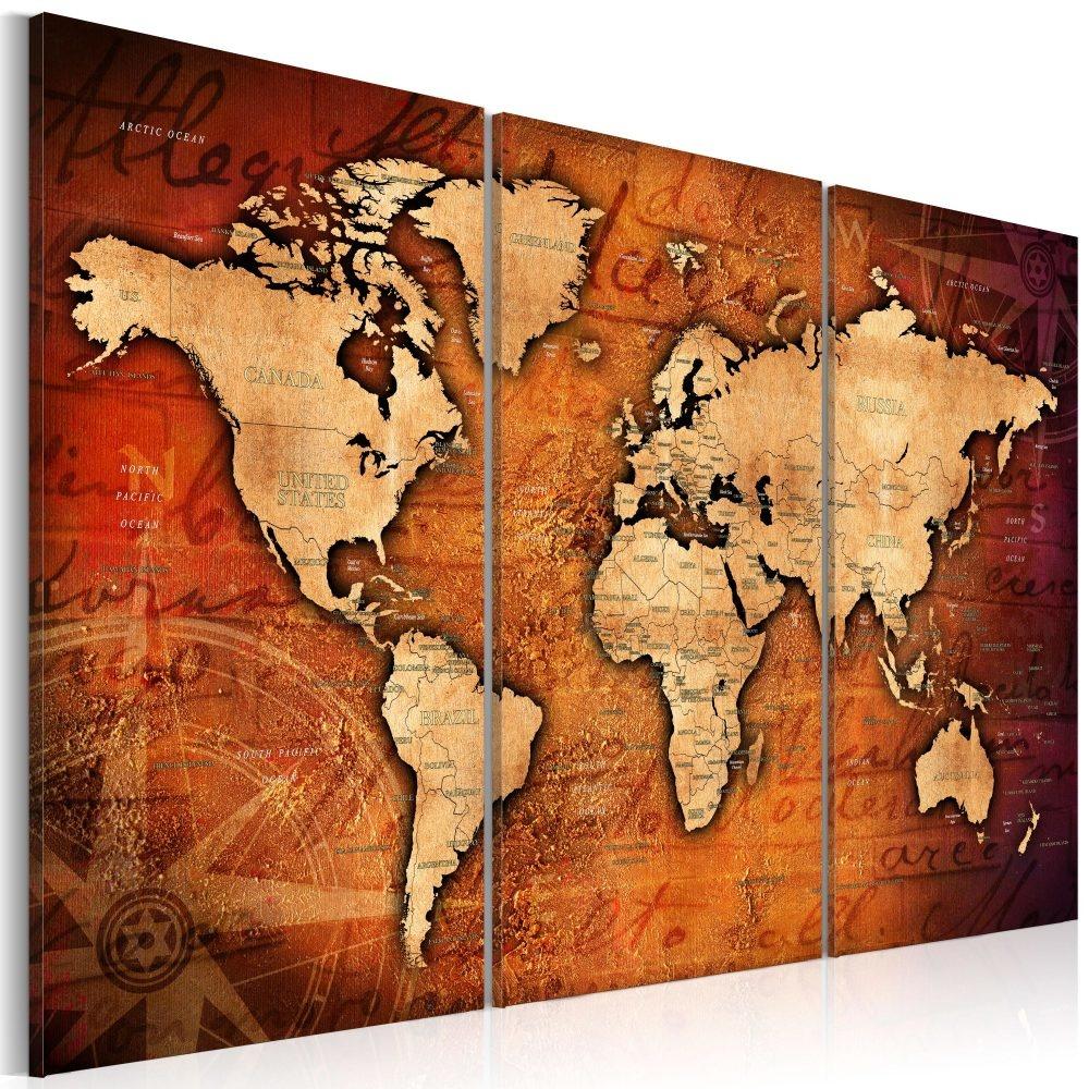 Schilderij - Wereldkaart , Amberkleurige Wereldreis , 3 luik