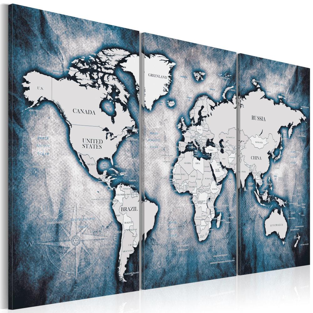 Schilderij - Wereldkaart , Wereld in blauwe inkt , 3 luik